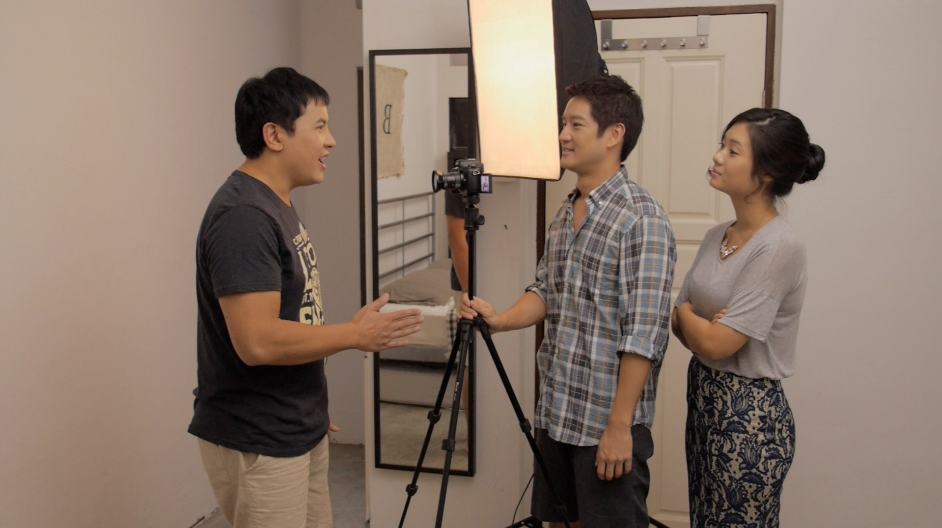 "Christian Lee (Bob), Jason Chan (Jimmy) and Glory Ngim (Jane) discuss ""going gay"" for their showreel."