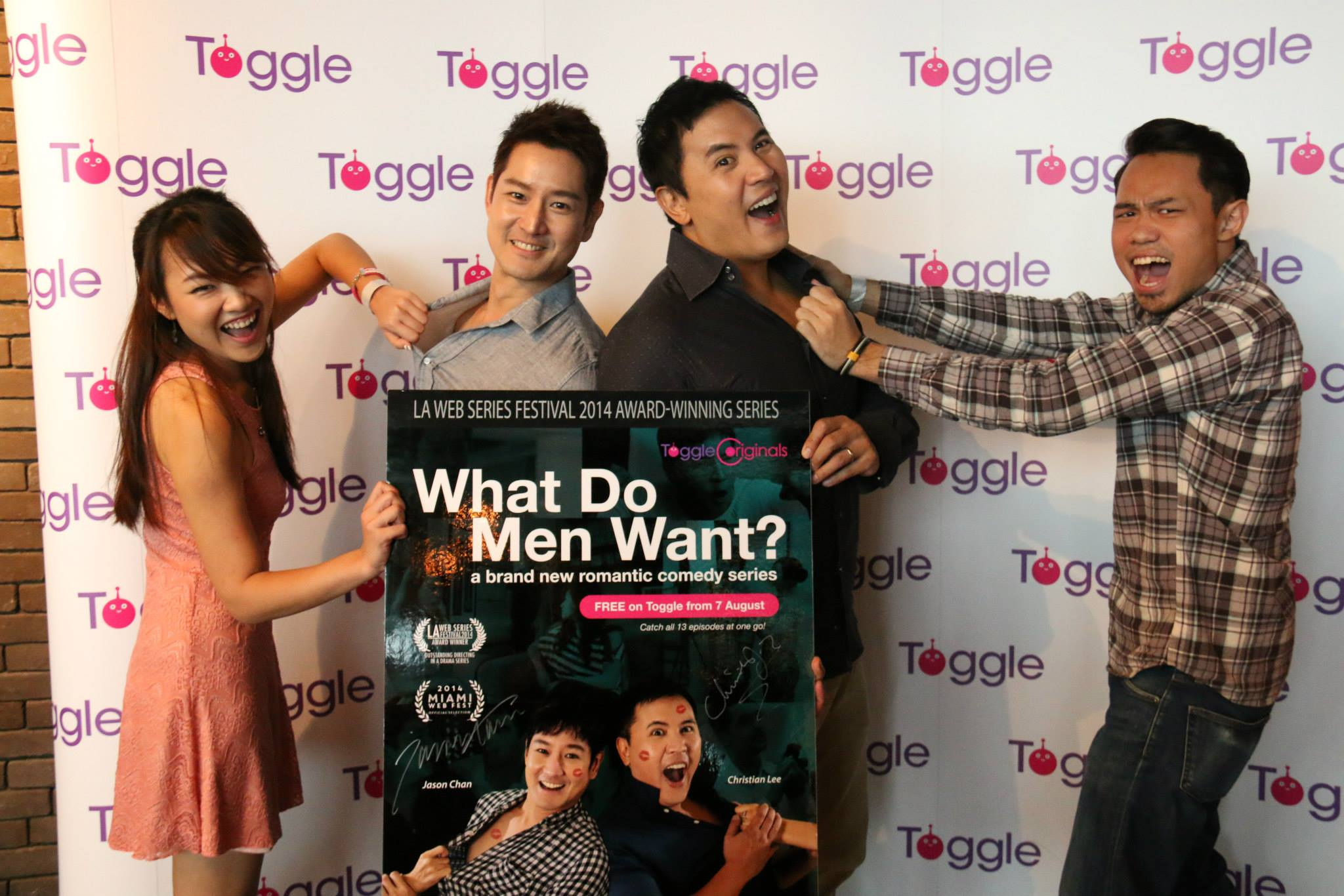 "Celebrity youtubers: Aaron Khoo and Janice Chiang of TreePotatoes (youtube channel) giving their support to ""What Do Men Want?"" drama series."