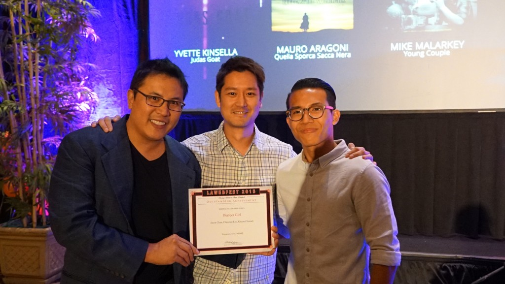 Christian Lee, Jason Chan and Khairul Norady with their win for Outstanding Editing