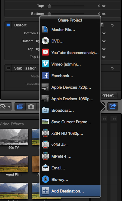 FCPx Add Destination